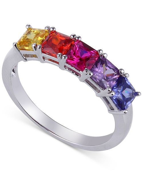 Giani Bernini Multicolor Cubic Zirconia Five-Stone Ring in Sterling Silver, Created for Macy's