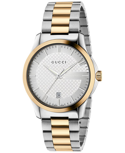 Gucci Men's Swiss G-Timeless Two-Tone PVD Stainless Steel Bracelet Watch 38mm YA126450