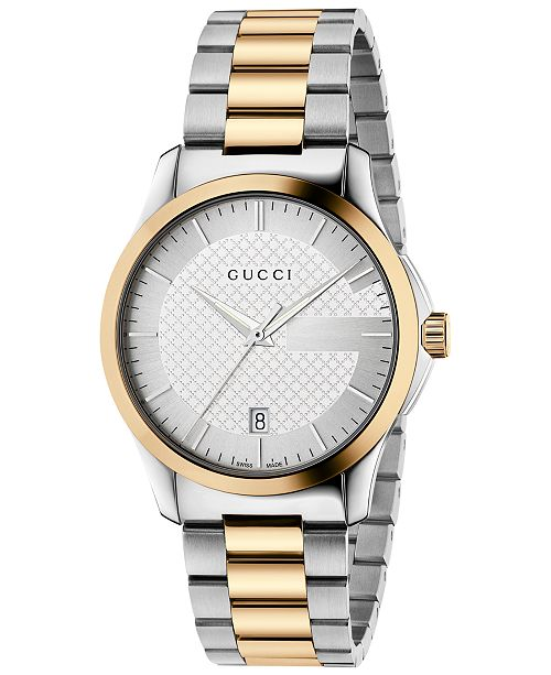 77d57094973 ... Gucci Men s Swiss G-Timeless Two-Tone PVD Stainless Steel Bracelet Watch  38mm YA126450 ...