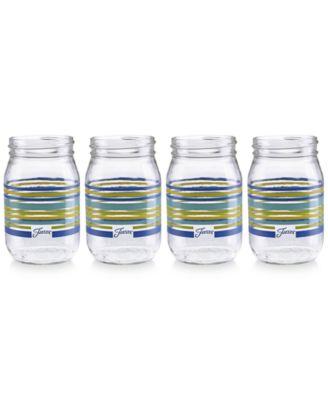 Lapis Stripe Set of 4 Mason Jar Glasses