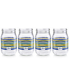 Fiesta Lapis Stripe Set of 4 Mason Jar Glasses