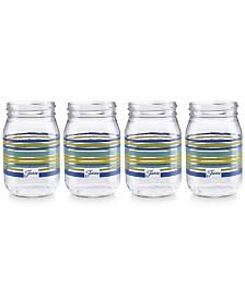 Fiesta Lapis Stripe Set of 4 Mason Jar Glasses