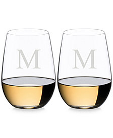 Riedel O Monogram Collection 2-Pc. Block Letter Stemless Riesling/Sauvignon Blanc Wine Glasses