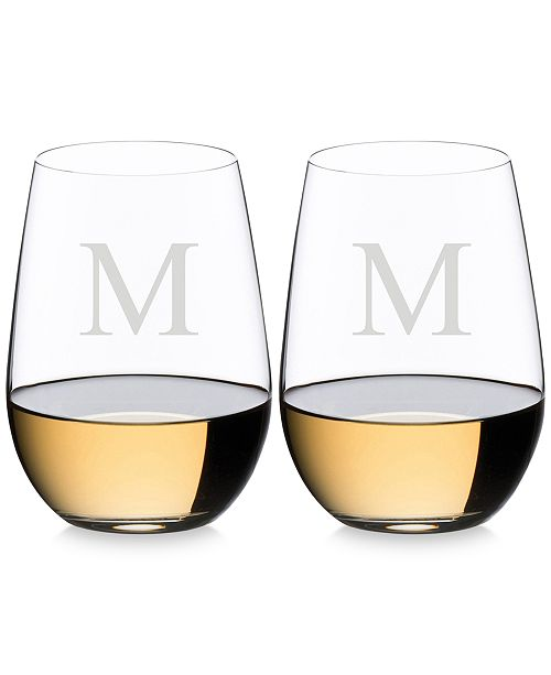 Lenox Riedel O Monogram Collection 2-Pc. Block Letter Stemless Riesling/Sauvignon Blanc Wine Glasses