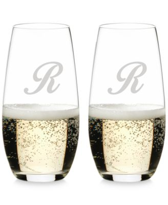 O Monogram Collection 2-Pc. Script Letter Stemless Champagne Glasses