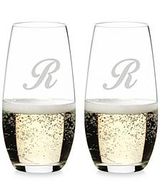 O Monogram Collection 2-Pc. Script Letter Stemless Champagne Glasses