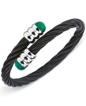 Charriol Womens Two-Tone Malachite Cable Bangle Bracelet