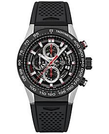 Men's Swiss Automatic Chronograph Carrera Calibre Heuer 01 Black Rubber Strap Watch 45mm