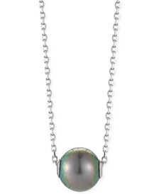 Cultured Tahitian Pearl Pendant Necklace (10mm) in Sterling Silver