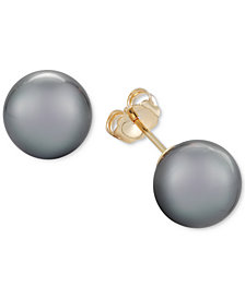 Cultured Tahitian Pearl Stud Earrings (9mm) 14k Gold