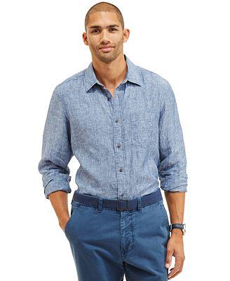 Nautica Men's Solid Linen Shirt - Casual Button-Down Shirts - Men ...