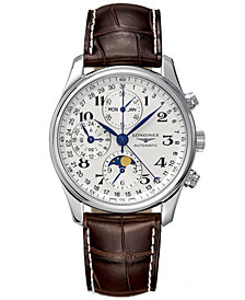 Longines Men's The Master Collection Brown Leather Strap Watch L26734783