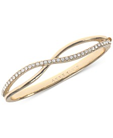 Anne Klein Gold-Tone Crystal Crisscross Bangle Bracelet, Created for Macy's