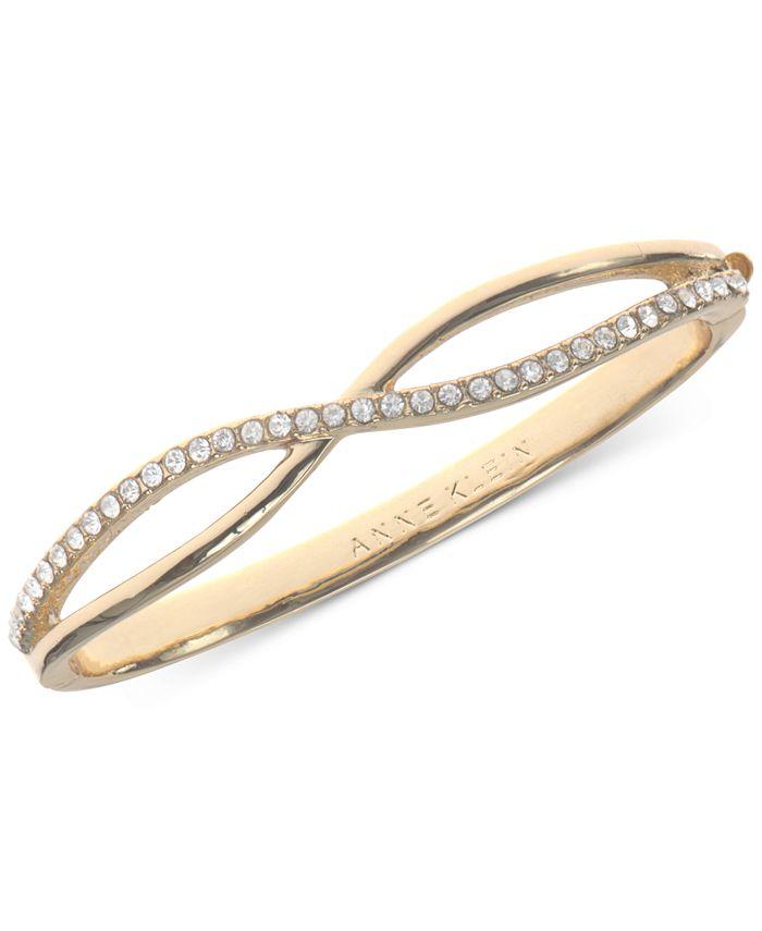 Anne Klein - Gold-Tone Crystal Crisscross Bangle Bracelet