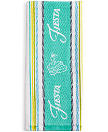 Fiesta Logo Stripe Kitchen Towel Collection Turquoise Kitchen Towel