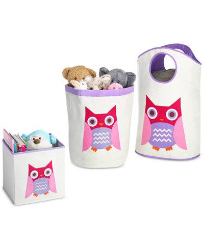 Whitmor Kids Canvas Cube Storage Bin, Pink Owl