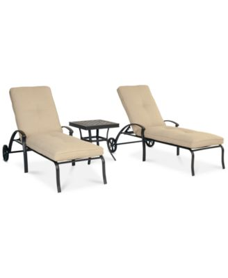 park gate outdoor cast aluminum 3pc chaise set 2 chaise lounges and 1 end table