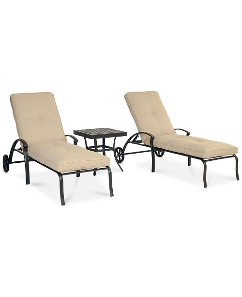 Furniture Park Gate Outdoor Cast Aluminum 3-Pc. Chaise Set (2 Chaise Lounges and 1 End Table), Created for Macy's