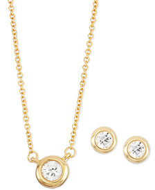 White Sapphire 2-Pc. Bezel-Set Stud Earring and Pendant Necklace Set (1/2 ct. t.w.) in 14k Gold-Plated Sterling Silver