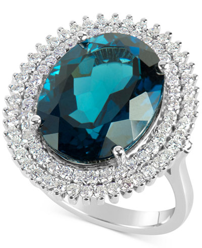 Blue Topaz (12 ct. t.w.) and Diamond (4/5 ct. t.w.) Ring in 14k White Gold
