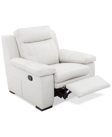 Zane Leather Manual Recliner Furniture Macy S