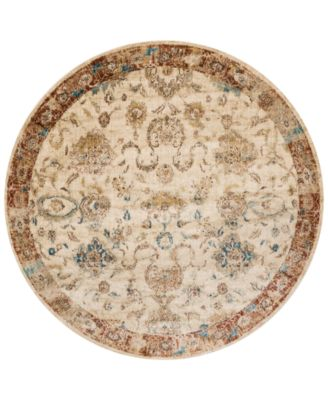 """Andreas   AF-04 Antique Ivory/Rust 5'3"""" Round Rug"""