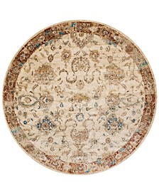 "Andreas   AF-04 Antique Ivory/Rust 5'3"" Round Rug"