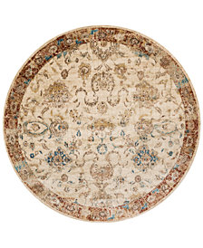 "Macy's Fine Rug Gallery Andreas   AF-04 Antique Ivory/Rust 5'3"" Round Rug"