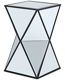 Leilani Angluar Mirror Accent Drum Table, Quick Ship