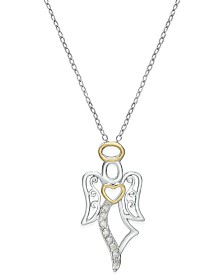 Diamond Angel Pendant Necklace (1/10 ct. t.w.) in Sterling Silver and 18k Gold-Plated Sterling Silver