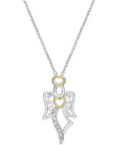 Diamond angel pendant necklace 110 ct tw in sterling silver diamond angel pendant necklace 110 ct tw in sterling silver and aloadofball Image collections