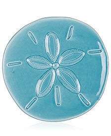 Fitz and Floyd Cape Coral Collection Teal Sand Dollar Snack Plate