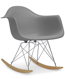 Caden Mid-Century Modern Rocking Chair, Quick Ship