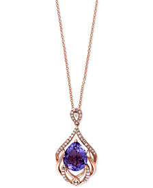 Viola by EFFY Amethyst (3-3/8 ct. t.w.) and Diamond (1/6 ct. t.w.) Filigree Pendant Necklace in 14k Rose Gold