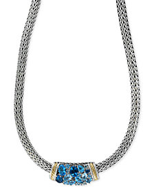 Ocean Bleu By EFFY Blue Topaz Necklace (6-3/4 ct. t.w.) in Sterling Silver and 18k Gold