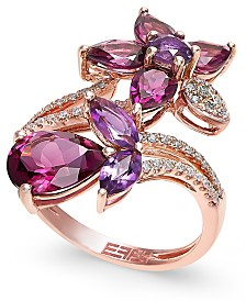 Bordeaux by EFFY Multi-Stone (5-1/4 ct. t.w.) and Diamond (1/5 ct. t.w.) Flower Ring  in 14k Rose Gold