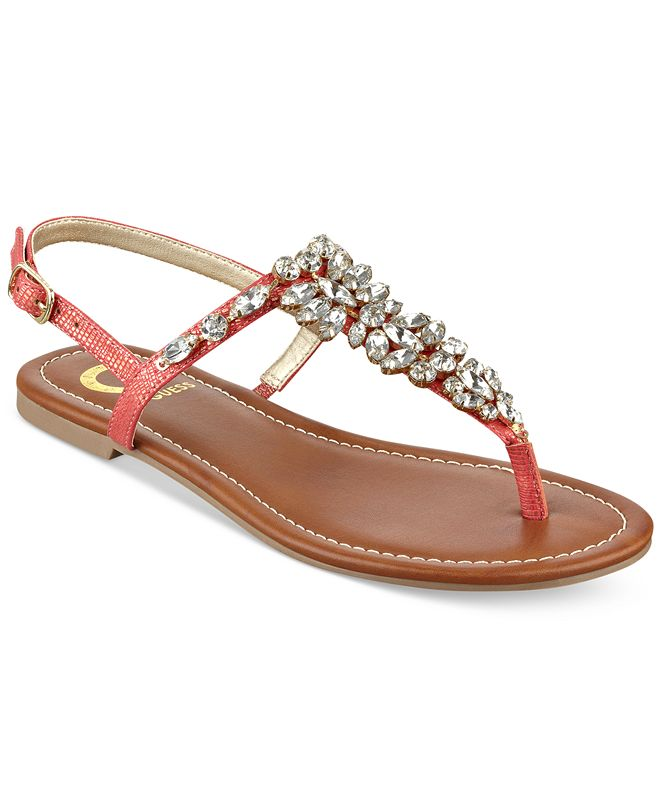 G by GUESS Leesure Jeweled Flat Sandals