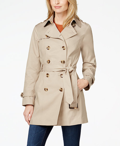 Jones New York Double-Breasted Belted Trench Coat