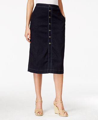 style co button denim midi skirt only at