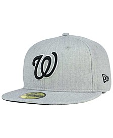 Washington Nationals Heather Black White 59FIFTY Fitted Cap