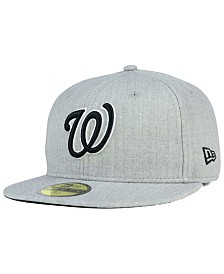 New Era Washington Nationals Heather Black White 59FIFTY Fitted Cap