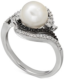 Freshwater Pearl (8mm) and Diamond (1/3 ct. t.w.) Ring in Sterling Silver