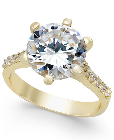 Charter Club Gold-Tone Round Crystal Ring, Created for Macy's