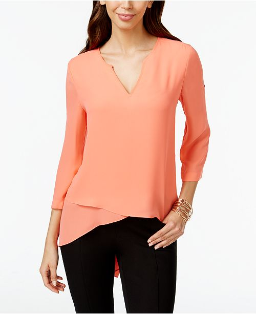 Alfani Roll-Tab High-Low Top, Created for Macy's