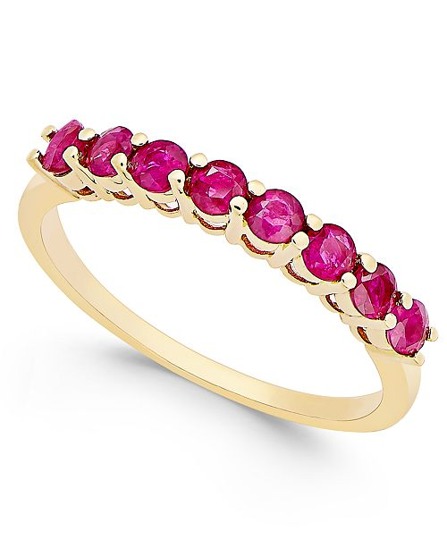 Macy's Ruby (3/4 ct. t.w.) Eight Stone Band  in 14k Gold
