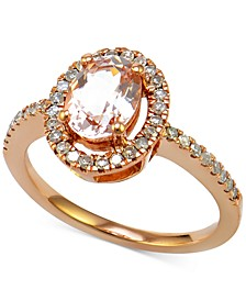 Morganite (7/8 ct. t.w.) and Diamond (1/4 ct. t.w.) Halo-Style Ring in 14k Rose Gold
