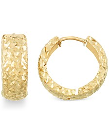Textured Huggie Hoop Earrings in 14k Gold