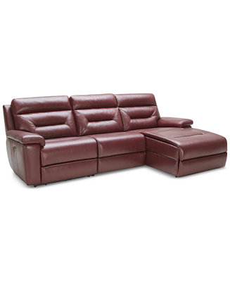 Quinton Leather 3 Pc Chaise Sofa With A Power Recliner