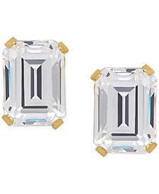 Cubic Zirconia Emerald-Cut Stud Earrings in 14k Gold or 14k White Gold