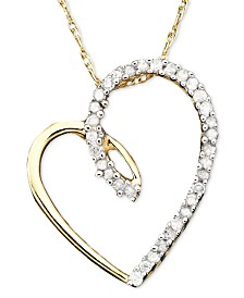 Diamond Heart Pendant Necklace in 14k Gold (1/10 ct. t.w.)